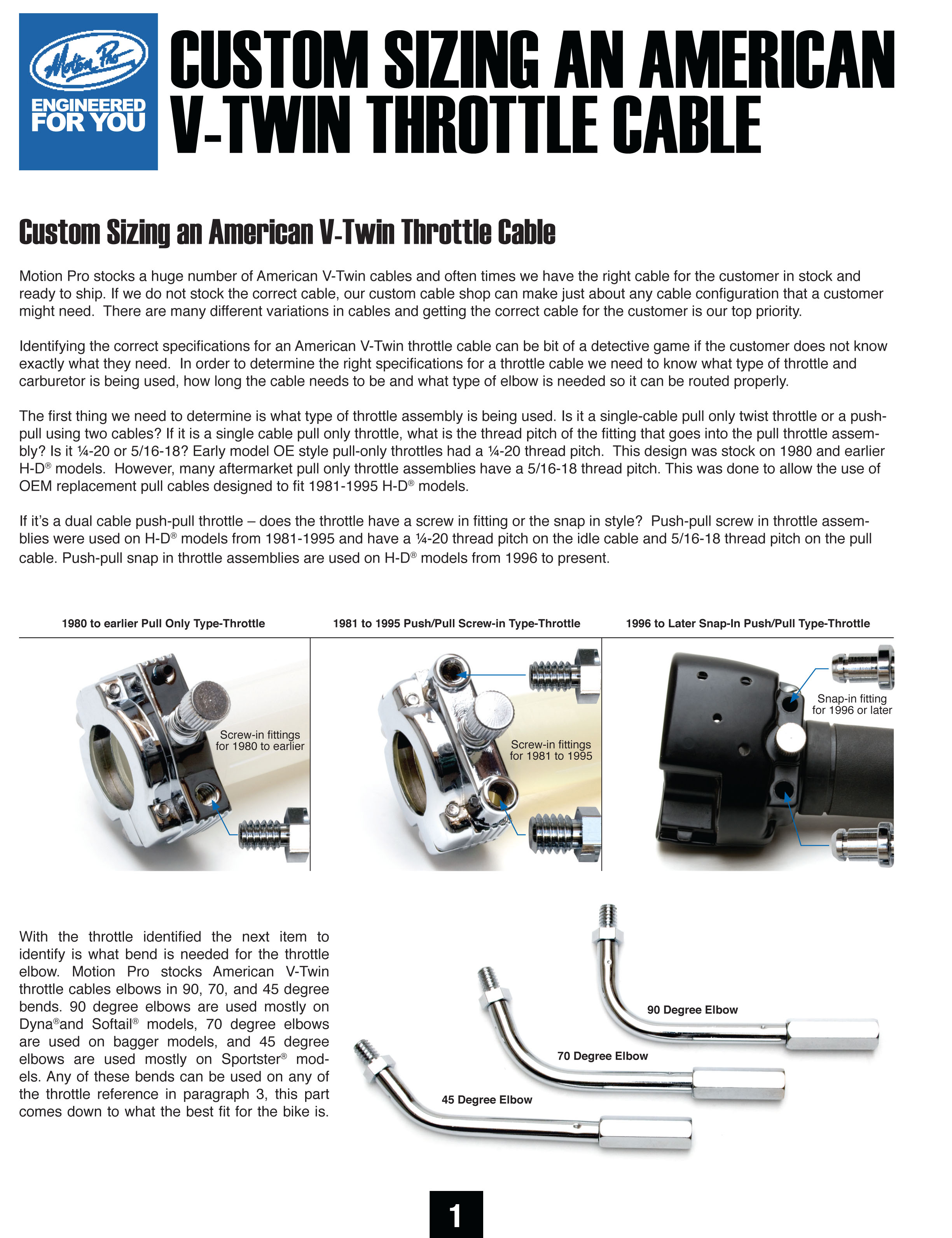 Custom Sizing V-TWIN Throttle Cables