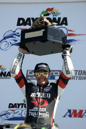 Danny Eslick with Daytona 200 Trophy