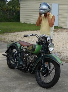 4 - Dottie suits up for the first test ride of her Cannonball Indian