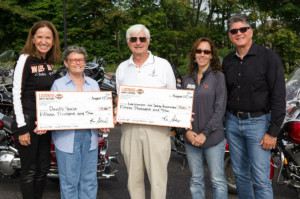 left to right, Anne Deli, Owner of Laconia Harley-Davidson, Nancy Whitman, Vice President of David's House, Bob Knowles, of the Lake Winnipesaukee Sailing Association, Jaye Olmstead, Development Director at David's House, and Ed Compton, General Manager of Laconia Harley-Davidson.