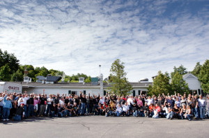 The Lindsey Frank Memorial Motorcycle Ride ride participants and supporters gather at Hart's Turkey Farm.