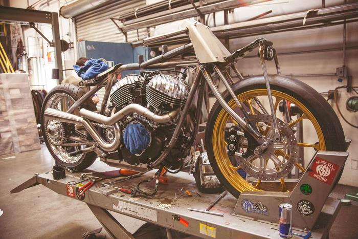 QUICK PIC, ROLAND SANDS ON HIS RSD FRAME UP INDIAN