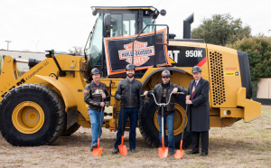Harley-Davidson District Manager Gary Barnes; Texas Harley General Manager Neil Noble; Texas Harley Owner Adam Smith; Bedford Mayor Jim Griffin