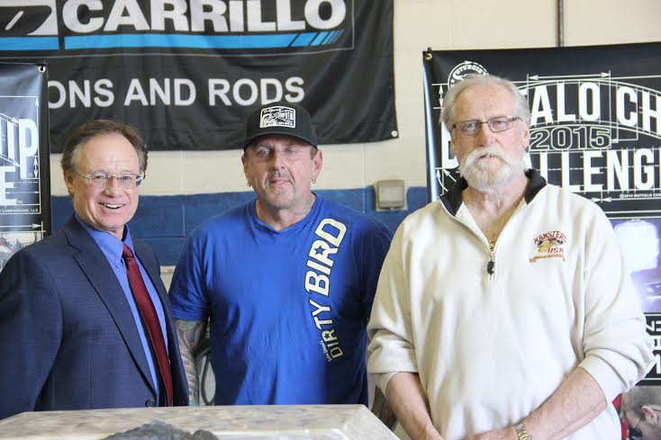 Sturgis Buffalo Chip President, Rod Woodruff, John Shope of Dirty Bird Customs and Keith Terry, President and founder of Terry Components, joined together today to unveil the 2015 Buffalo Chip Challenge program at Sturgis Brown High School.