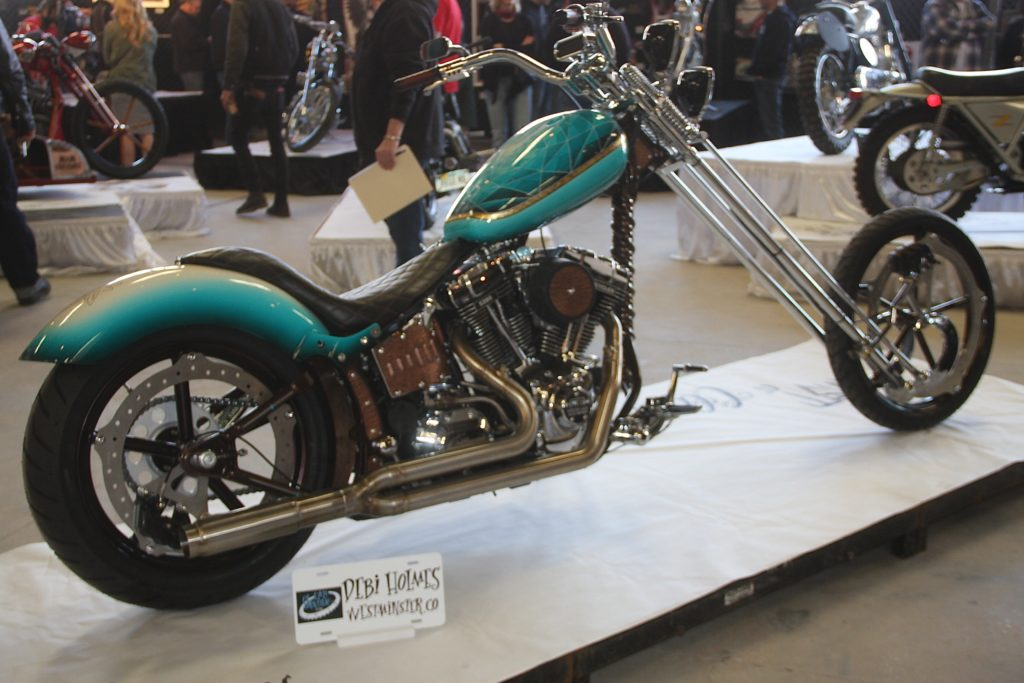 Debii Holmes's chopper built by Irish Rich Ryan, and she helped!
