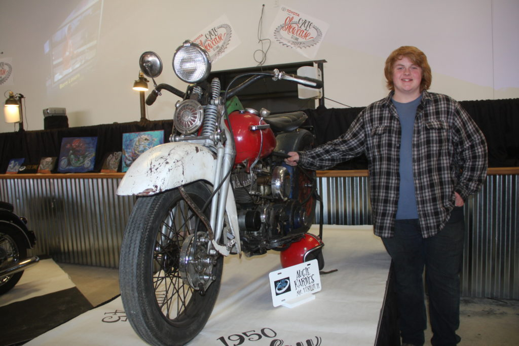 Augie Karnes, only 16-years oldm showed his very own 1960 Harley-Davidson WL. THAT'S what kids today are doing and it's awesome.