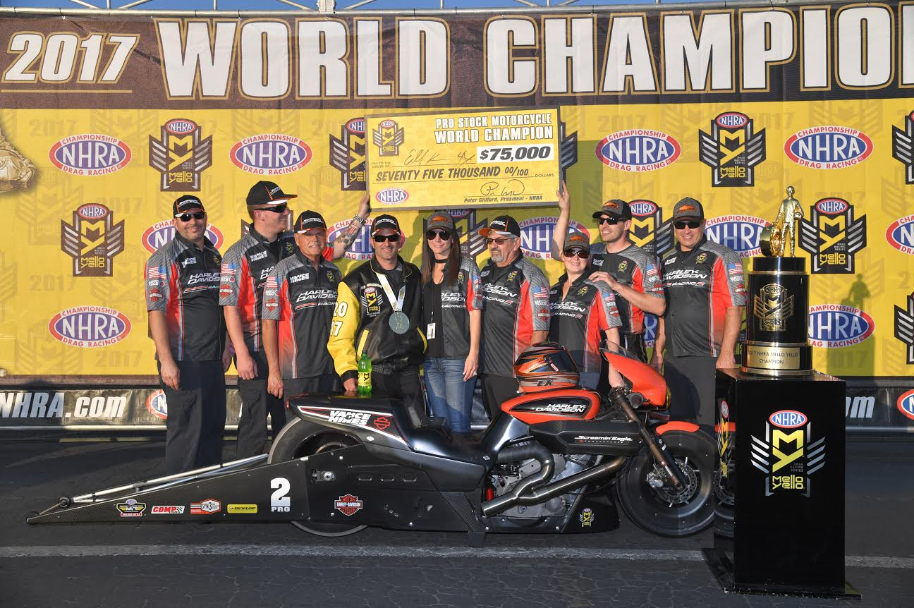 HARLEY-DAVIDSON AND KRAWIEC SECURE NHRA PRO STOCK MOTORCYCLE CHAMPIONSHIP