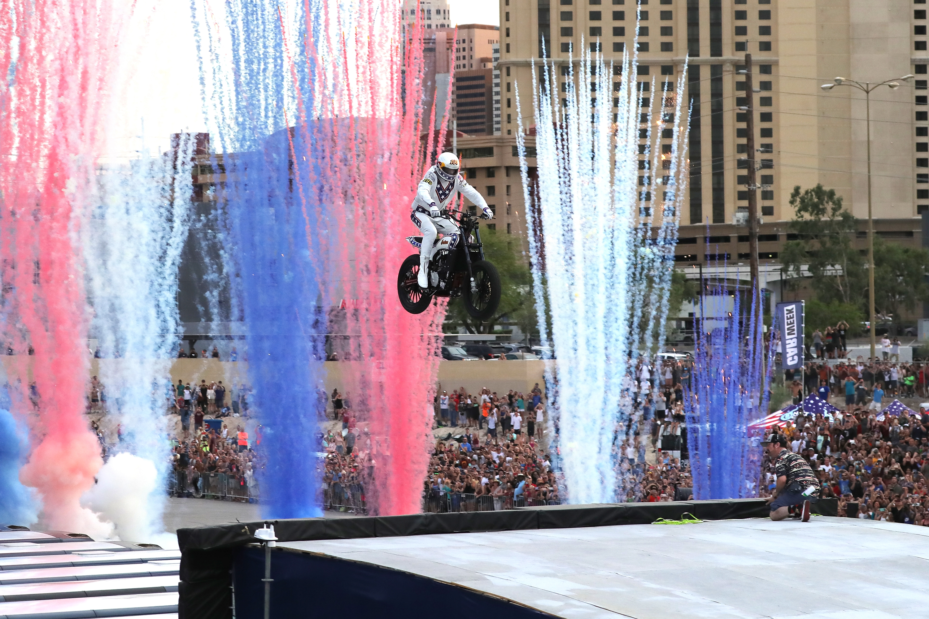 "LAS VEGAS, NV - JULY 08:  Travis Pastrana peforms during HISTORY's Live Event ""Evel Live"" on July 8, 2018 in Las Vegas, Nevada.  (Photo by Neilson Barnard/Getty Images for HISTORY)"